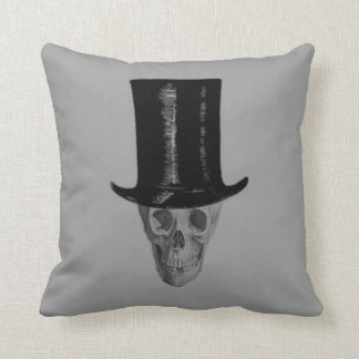 Monochrome Skull Top Hat Cushion