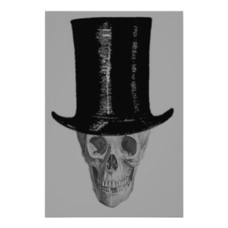 Monochrome Skull Top Hat Photo Print
