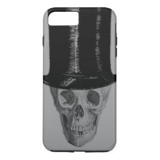 Monochrome Skull Top Hat Stove Pipe Hat iPhone 7 Plus Case