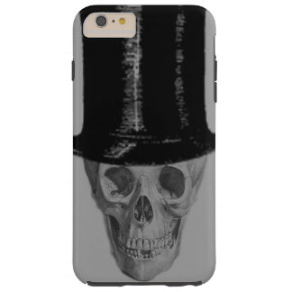 Monochrome Skull Top Hat Stove Pipe Hat Tough iPhone 6 Plus Case
