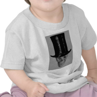Monochrome Skull Top Hat T Shirt
