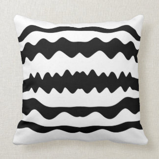 Monochrome 'Soundwaves' Pattern Minimalist Design Cushion