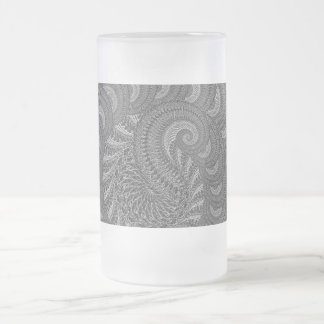 Monochrome Spiral Graphic. Frosted Glass Beer Mug