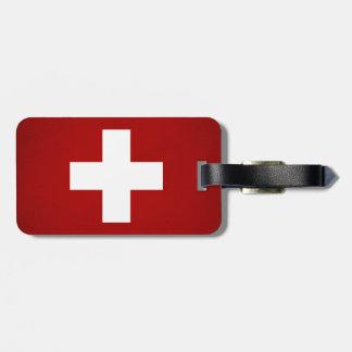 Monochrome Switzerland Flag Luggage Tag
