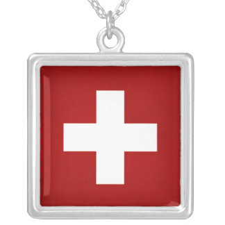 Monochrome Switzerland Flag Silver Plated Necklace