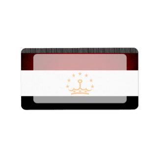 Monochrome Tajikistan Flag Address Label