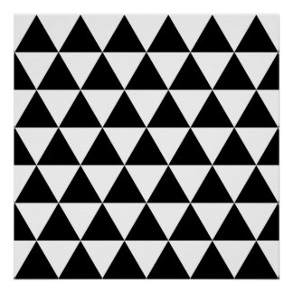 Monochrome Triangle Pattern Poster