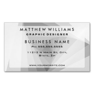 Monochrome Triangular Abstract Geometric Spiral Magnetic Business Cards