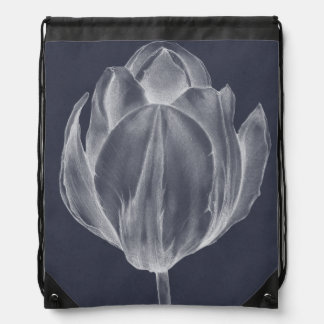 Monochrome Tulip I Drawstring Bag