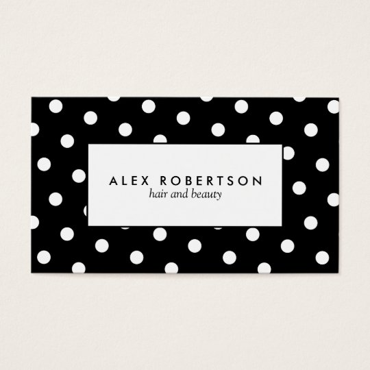 Monochrome white and black polka dot pattern business card