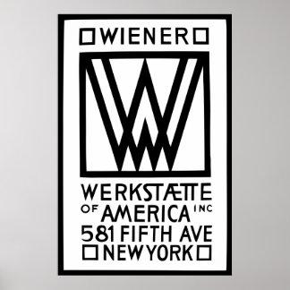 Monochrome Wiener Werkstaette of America Poster