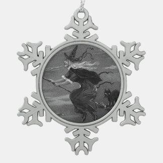 Monochrome Witch Broom Black Cat Ornament