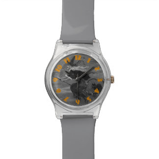 Monochrome Witch Broom Black Cat Watch