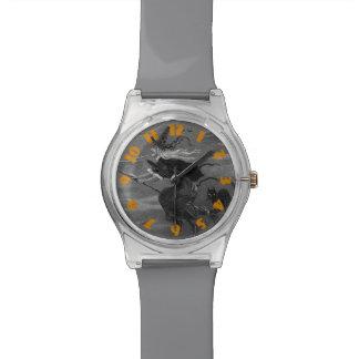 Monochrome Witch Broom Black Cat Wristwatches