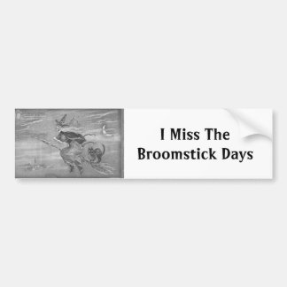 Monochrome Witch on Broom Bumper Sticker