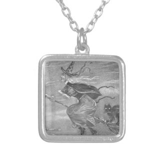 Monochrome Witch on Broom Square Pendant Necklace