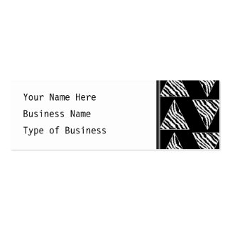Monochrome Zebra Stripe Triangles on Black. Double-Sided Mini Business Cards (Pack Of 20)