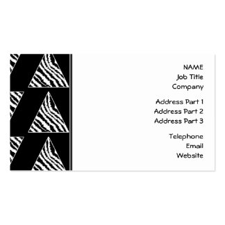 Monochrome Zebra Stripe Triangles on Black. Double-Sided Standard Business Cards (Pack Of 100)