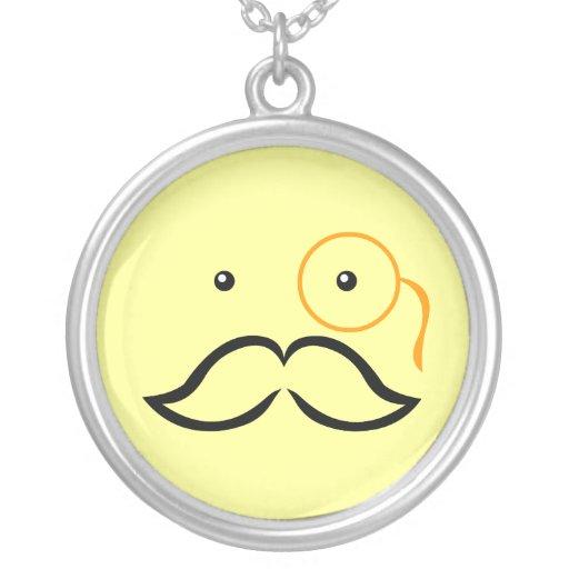 Monocle and Moustache Round Pendant Necklace