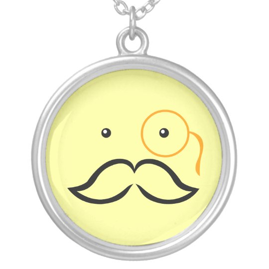 Monocle and Moustache Silver Plated Necklace