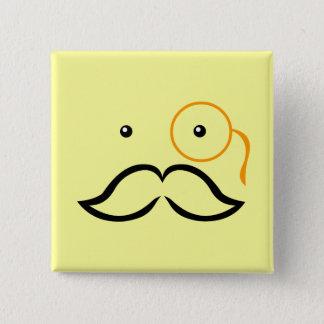 Monocle and Mustache 15 Cm Square Badge