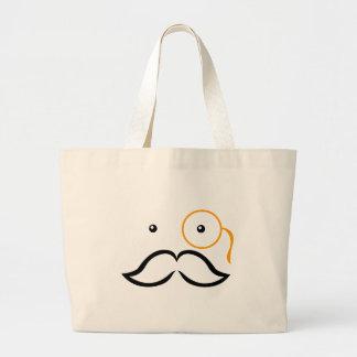 Monocle and Mustache Jumbo Tote Bag