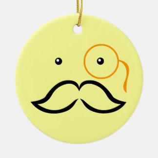 Monocle and Mustache Round Ceramic Decoration