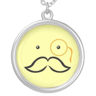 Monocle and Mustache Silver Plated Necklace