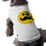 Monocle & Moustache Smiley (Customisable backgrnd) Sleeveless Dog Shirt