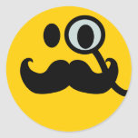 Monocle & Moustache Smiley (Customisable backgrnd) Round Stickers