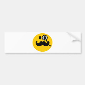 Monocle & Mustache Smiley (Customizable backgrnd) Bumper Sticker