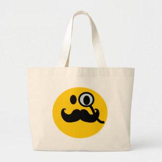 Monocle & Mustache Smiley (Customizable backgrnd) Jumbo Tote Bag