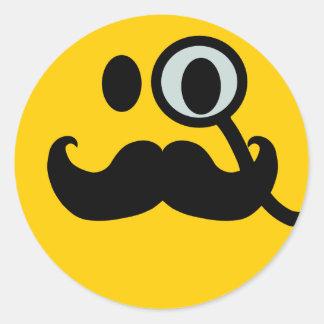 Monocle & Mustache Smiley (Customizable backgrnd) Sticker