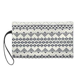 Monocromatic Tribal zigzag triangular pattern Wristlet Clutches