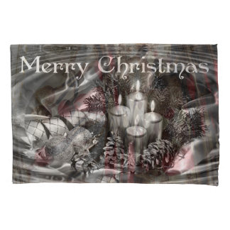 Monocrome Christmas Pillow Case with Water Ripples