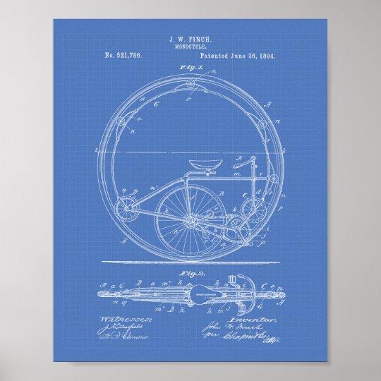 Monocycle 1894 Patent Art Blueprint Poster