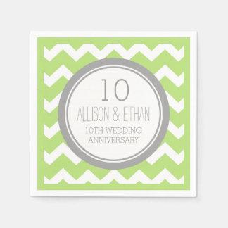 Monogram 10th Anniversary Napkin Green Chevron Paper Napkin