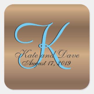 Monogram  3d Bronze Wedding Favor Square Sticker