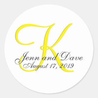 Monogram 3d Wedding Favor Round Sticker