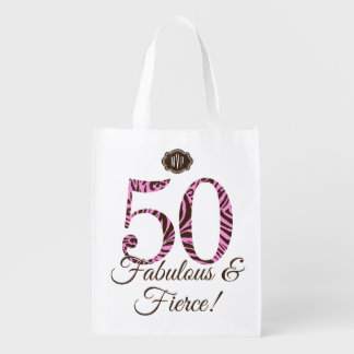 Monogram 50th Birthday Fabulous & Fierce Swag Reusable Grocery Bag