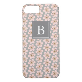 Monogram 6 petal cherry blossom Gray and pink iPhone 8/7 Case