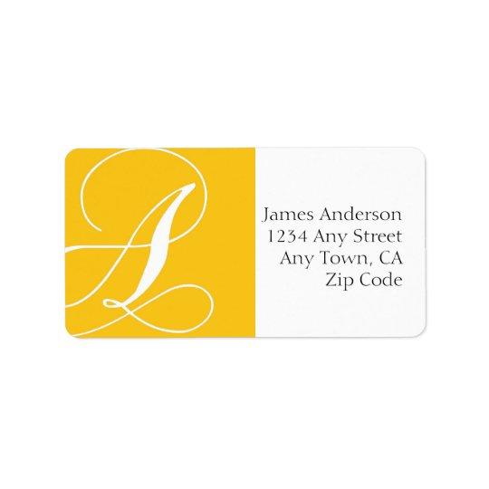 Monogram A Address Labels Yellow