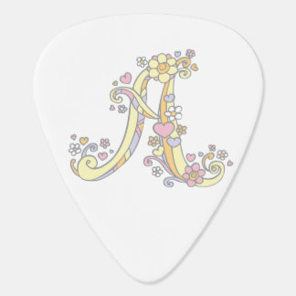 Monogram A and name Aubrey custom guitar picks