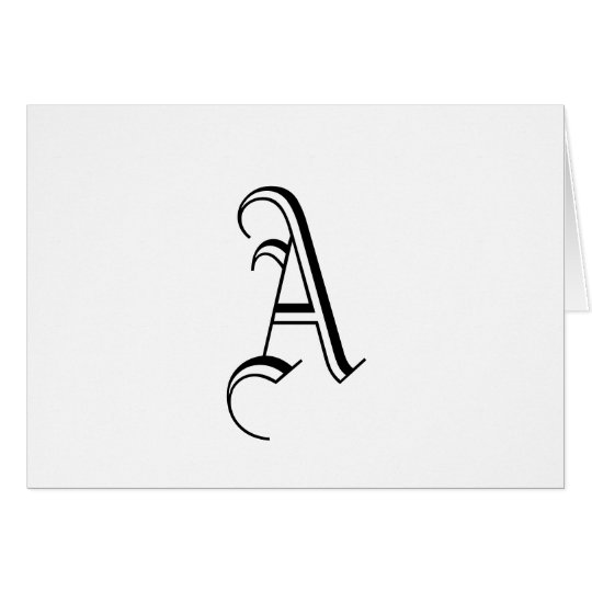 """Monogram """"A"""" Card _Customizable_Black and White"""
