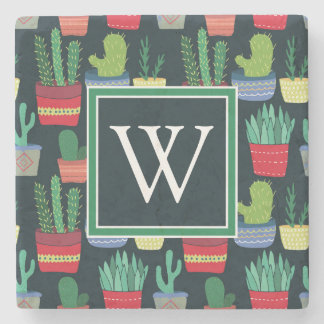 Monogram | A Crowd of Cactus Stone Beverage Coaster