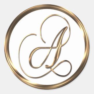 Monogram A Faux Bronze Round Sticker