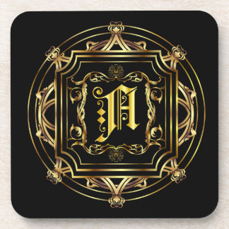 Monogram A Fits all Customize Edit For Back Color Beverage Coasters