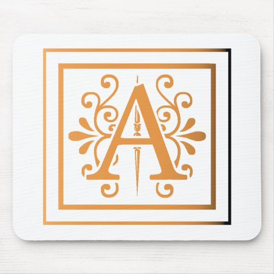 MONOGRAM A GOLD TO BLACK GRADIENT MOUSE MAT