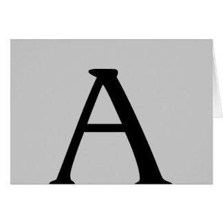 Monogram A Grey Black Note Card