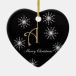 Monogram A Heart Shaped Christmas Snowflakes Ornaments